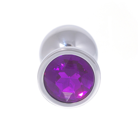 Анальная пробка с кристаллом (фиолетовый), размер S