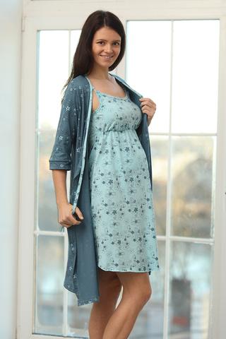 Комплект для беременных и кормящих с халатом и сорочкой 09972 серо-зеленый