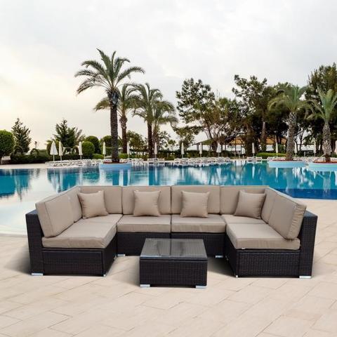Плетеный модульный диван из искусственного ротанга YR822 Brown