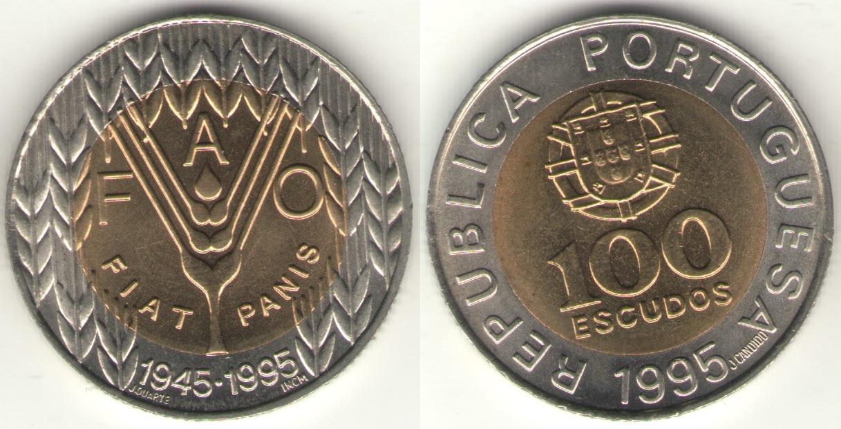 """100 эскудо 1995 года """"50 лет FAO"""""""