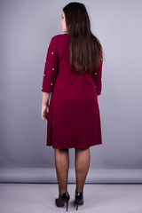 Жемчуг. Гарна сукня для дам з пишними формами. Бордо.
