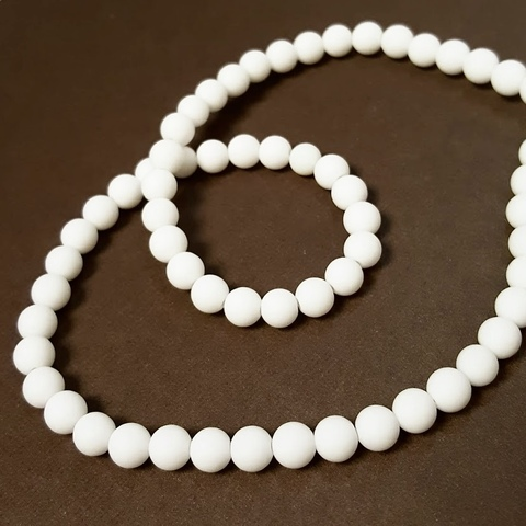 Бусины агат белый (имитация) матовый шар гладкий 6 мм