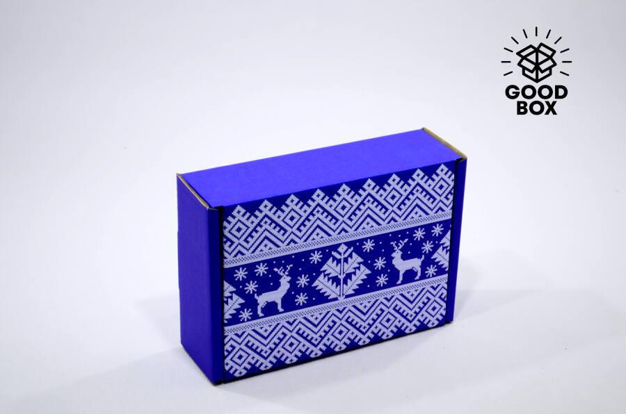 Новогодняя коробка синего цвета купить в Алматы