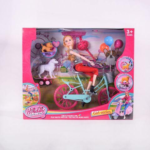 Кукла прогулка с велосипедом