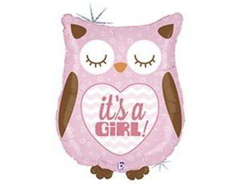 Фольгированный шар  IT'S A GIRL Сова розовая блеск