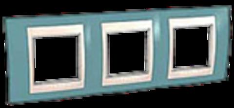 Рамка на 3 поста. Цвет Синий/Белый. Schneider electric Unica Хамелеон. MGU6.006.873
