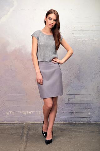 Фото серая юбка прямого силуэта со съемной сеточкой поливискозы - Юбка Б116-138 (1)