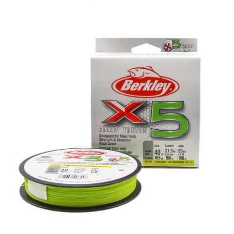 Плетеная леска Berkley X5 150м Ярко-желтая 0,25мм 18,2кг