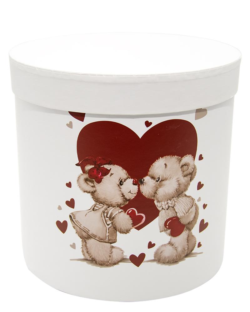 Коробка Цилиндр Белая (Большая Мишки)