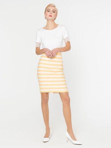 Фото летняя юбка прямого силуэта в полоску на молнии - Юбка Б074-581 (1)