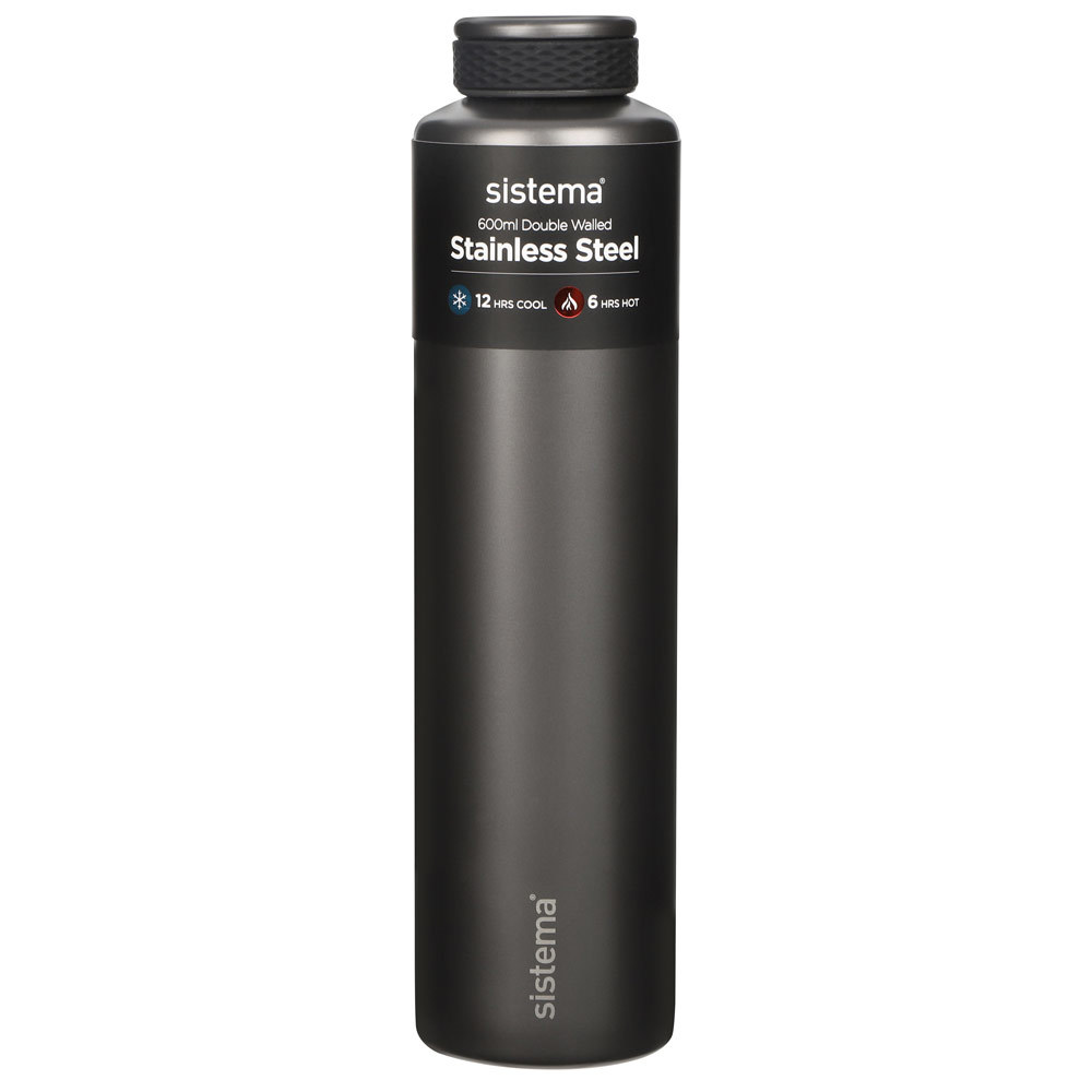 "Термобутылка Sistema ""Hydrate"" 600 мл, цвет Темно-серый"