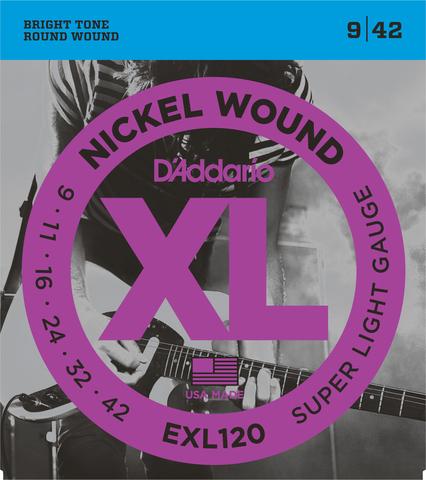 D`ADDARIO EXL120 NICKEL WOUND SUPER LIGHT 9-42