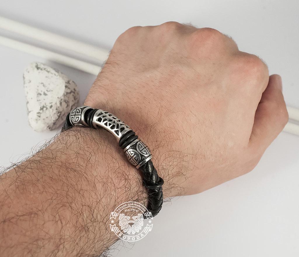 BM362 Красивый мужской браслет из кожи и стали, магнитная застежка (19 см) фото 06