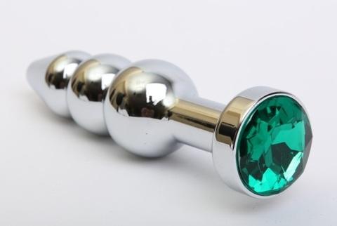 Пробка металл фигурная елочка серебро с зеленым стразом 11,2х2,9см 47435-6MM