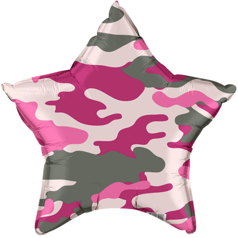 Фольгированная звезда Камуфляж розовый
