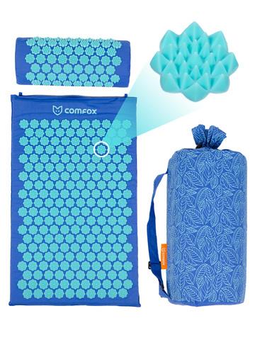 Набор массажный акупунктурный коврик + подушка Comfox (синий)