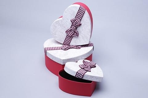 Коробка Сердце набор из 3 шт. 21x20,5x9 см, цвет: красный