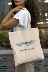 Женская сумка-шоппер с принтом Астон Мартин (Aston Martin) бежевая 002