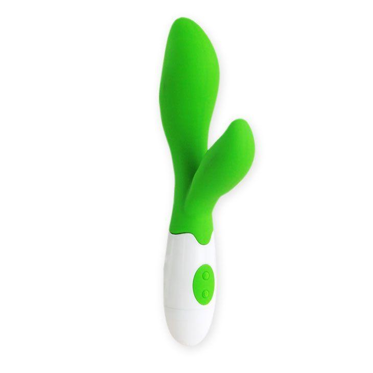 Зеленый вибратор Owen с клиторальным отростком - 20 см.