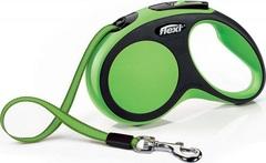 Поводок-рулетка Flexi New Comfort S (до 15 кг) лента 5 м черный/зеленый