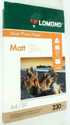 Lomond Матовая бумага 1хА4, 230г/м2, 50 листов