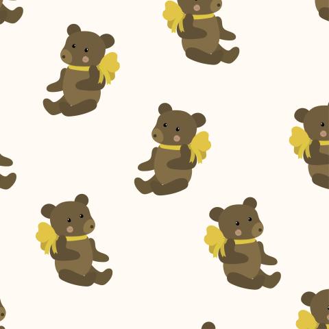 Милый паттерн с игрушечным медвежонком