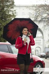 Зонт обратного открывания красный цветок механика