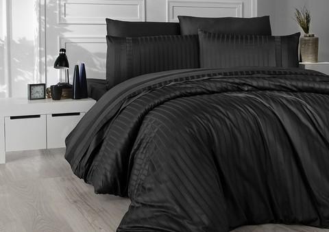 Комплект постельного белья DO&CO Сатин  жаккард DELUX NEW TREND 2 спальный Евро цвет черный