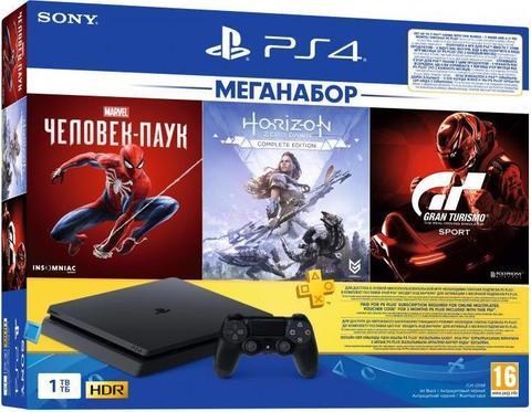 Игровая консоль Sony PlayStation 4 Black Slim 1Tб (CUH-2208B) + диск Spiderman + диск Gran Turismo Sport + диск Horizon: Zero Dawn + PS Plus 3 месяца