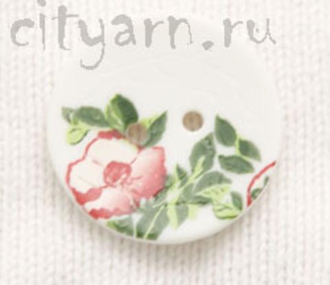 Пуговица с цветком шиповника, белая, 28 мм
