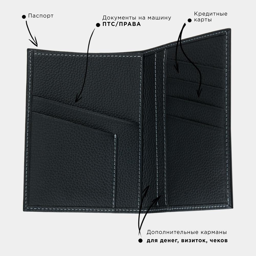 Обложка на паспорт и для автодокументов Paris Easy из натуральной кожи теленка, цвета черный мат