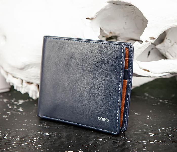 WL320-3 Классический кошелек для купюр и карт из синей кожи, «Moriz» фото 02