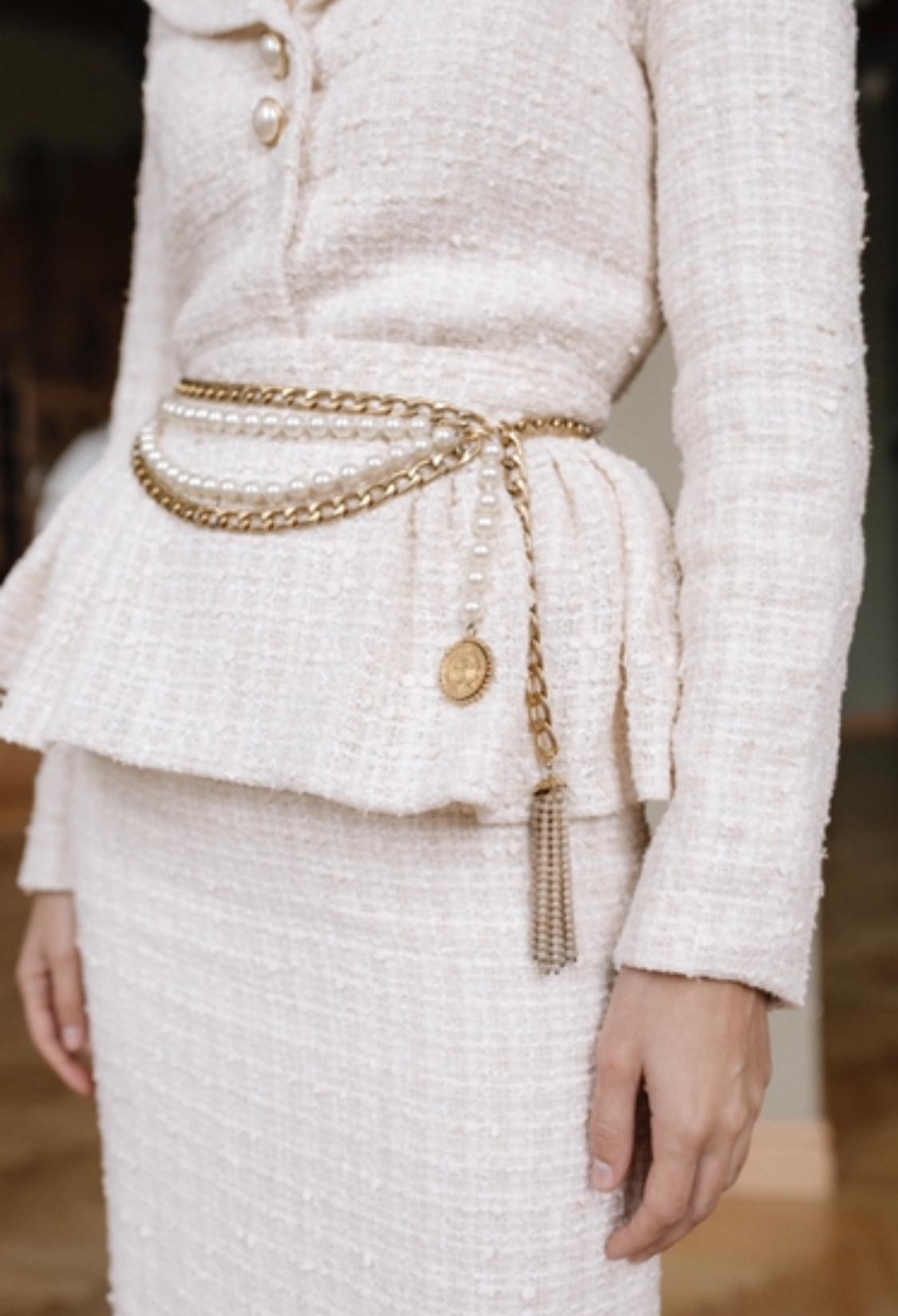 Элегантное колье-пояс Chanel с жемчугом 1980-е