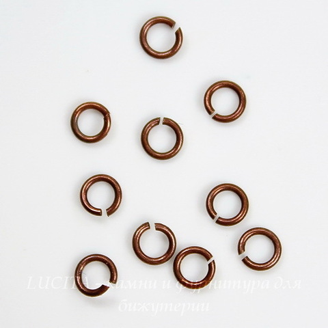 Винтажное колечко одинарное 3,5х0,6 мм (оксид меди), 10 шт ()