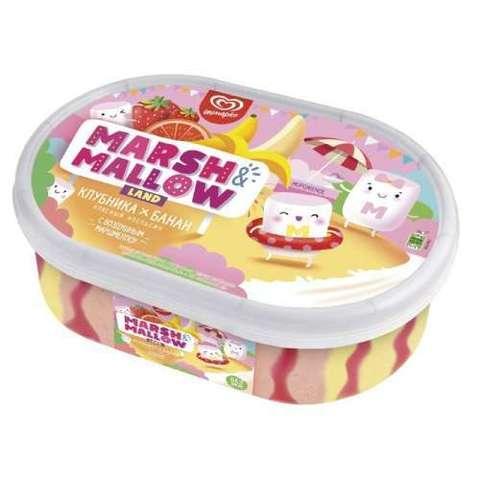 "Мороженое ""Marshmallow land"" клубника банан красный апельсин контейнер 454г"