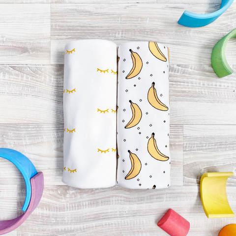 Сет из 2х пелёнок Mjölk Бананы/Глазки