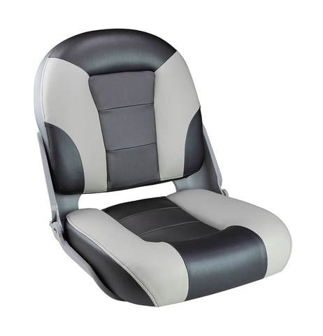 Сиденье мягкое складное SKIPPER PREMIUM, черно-серое