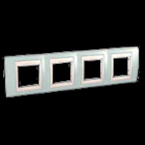Рамка на 4 поста. Цвет Морская волна/белый. Schneider electric Unica Хамелеон. MGU6.008.870