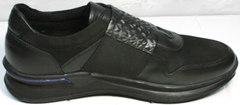 Чисто черные кроссовки мужские Luciano Bellini 1087 All Black