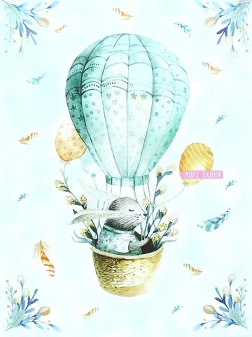 Купон(панель)заяц на воздушном шаре,мята,плюш,78х110см