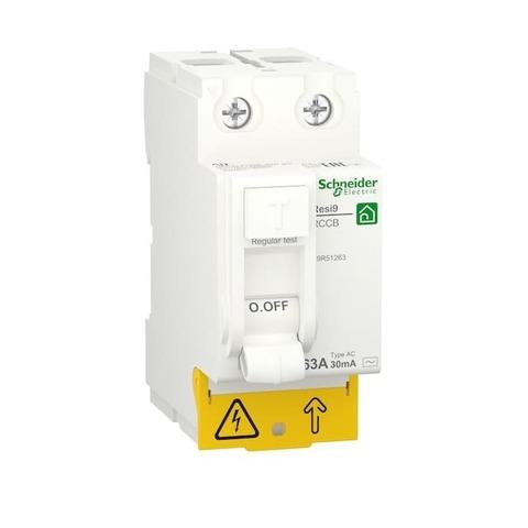 Выключатель дифференциального тока УЗО 2P - 63 А 30 мА 2 модуля 230 В~. Schneider Electric Resi9. R9R51263