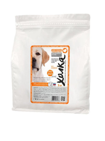 Полнорационный корм «Холка» Индейка и рис для взрослых собак средних и крупных пород, 3кг.