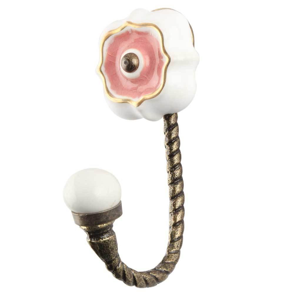 Крючок металлический,  с керамической вставкой розового цвета,  антик
