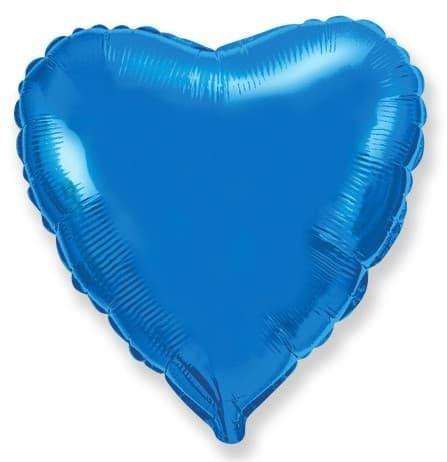 Фольгированный воздушный шар большое сердце, синее , 81 см