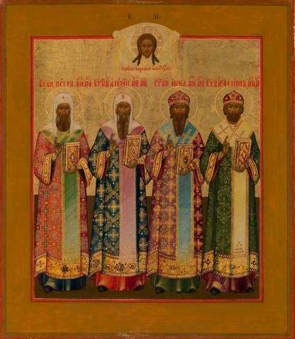 Икона четыре митрополита Московских: святые Петр, Алексий, Иона, Филипп на дереве на левкасе Мастерская Иконный Дом