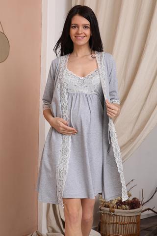 Комплект для беременных и кормящих с халатом и сорочкой 12729 серый меланж