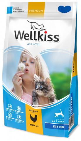 Wellkiss Kitten сухой корм для котят, с курицей 1,5 кг.