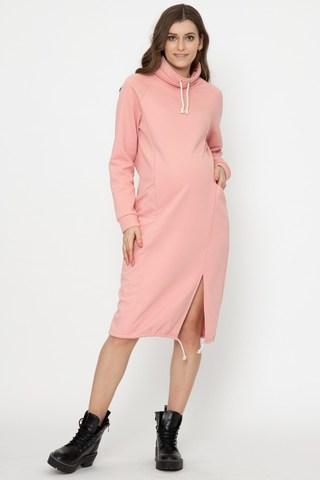 Утепленное спортивное платье для беременных и кормящих 12170 розовый