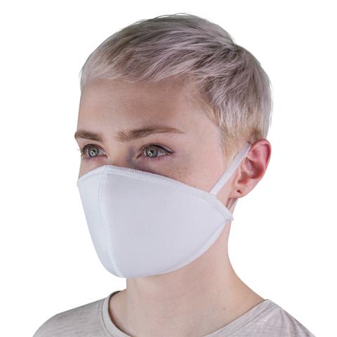 Маска защитная тканевая многоразовая, белая (с резинками)