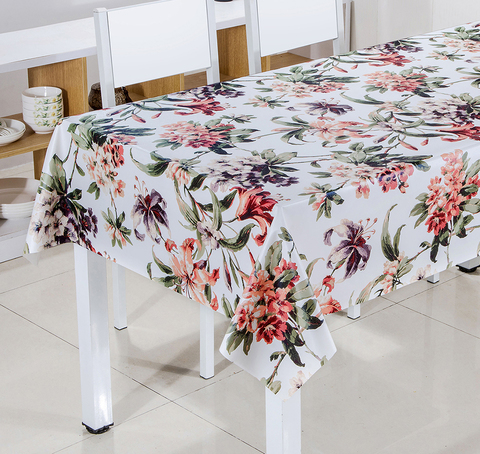 Клеенка на стол, цветы на белом фоне